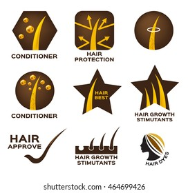 hair conditioner logo set vector and icon