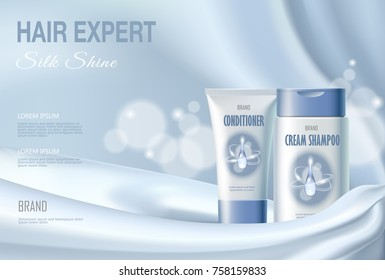 Hair cosmetic ad shampoo moisturizing conditioner moisturizing. Light blue silk fabric water liquid drop blur background.3d realistic package mock up poster banner template vector illustration