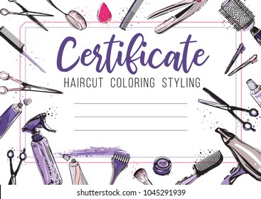 Hair cut, hairdressing business card, certificate or gift voucher, flyer. Beautiful illustration in watercolor style on white background