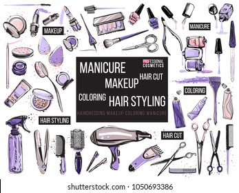 Hair cut, manicure, makeup, hair coloring, hairdressing, styling professional beauty tools and equipment big set. Beautiful fashion illustration in watercolor style isolated on white background