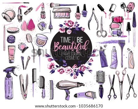 Hair Cut Manicure Makeup Hair Coloring Stock Vector Royalty Free