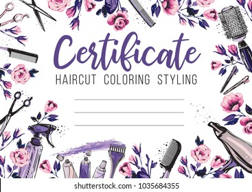 Hair cut and rose flower. Hairdressing business card, certificate or gift voucher, flyer. Beautiful illustration in watercolor style on white background