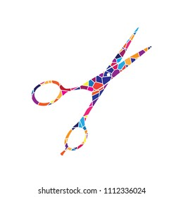 Hair cutting scissors sign. Vector. Stained glass icon on white background. Colorful polygons. Isolated.