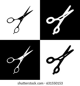 Hair cutting scissors sign. Vector. Black and white icons and line icon on chess board.