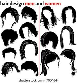 hair design vector (women and men)