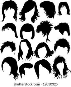Hair - dress 2  (women and man), vector work