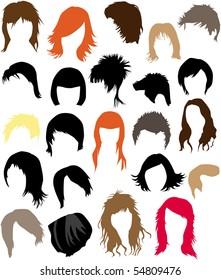 Hair - dress  (women and man), vector work