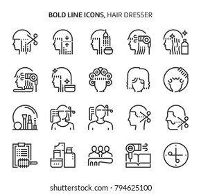 Hair dresser, bold line icons. The illustrations are a vector, editable stroke, 48x48 pixel perfect files. Crafted with precision and eye for quality.