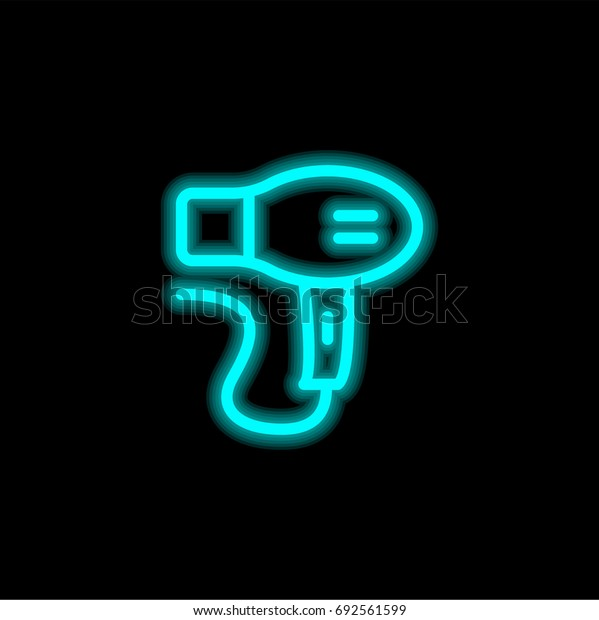 Hair dryer blue glowing neon ui ux icon. Glowing sign logo vector