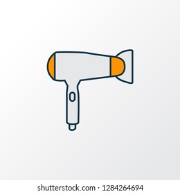 Hair dryer icon colored line symbol. Premium quality isolated blowdryer element in trendy style.
