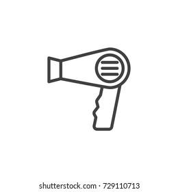 Hair dryer line icon, outline vector sign, linear style pictogram isolated on white. Symbol, logo illustration. Editable stroke