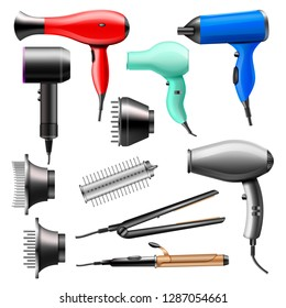 Hair dryer vector fashion hairdryer of hairdresser to blow-dry and electric hair-dryer blower illustration beauty set of barber styling appliance straightener curler isolated on white background