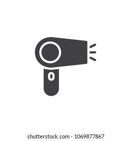 Hair dryer vector icon. filled flat sign for mobile concept and web design. Hairdressing tools simple solid icon. Symbol, logo illustration. Pixel perfect vector graphics