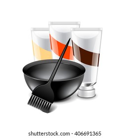 Hair dye tools isolated on white photo-realistic vector illustration