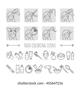 Hair dyeing process. Thin line icons