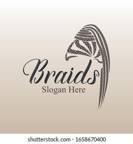 Hair extension girl braids style logo vector design