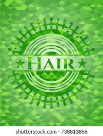 Hair green emblem with triangle mosaic background