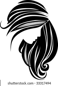 Hair icon for beauty salon. Beautiful female silhouette. Girl with long hair