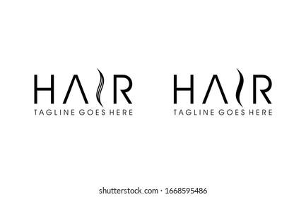 Hair icon for salon logo design concept editable