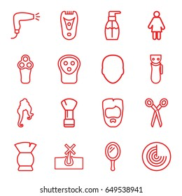 Hair icons set. set of 16 hair outline icons such as radar, barber scissors, mirror, face, electric razor, shaving brush, no hair in skin, woman hairstyle, brush, bottle soap