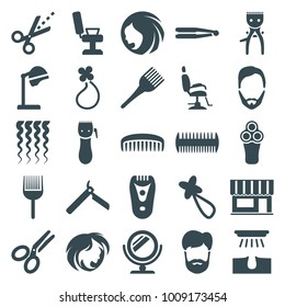 Hair icons. set of 25 editable filled hair icons such as woman hairstyle, bllade razor, electric razor, hair straightener, salon hair dryer, coloring brush, scissors, comb