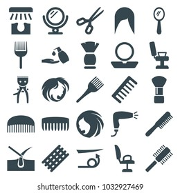 Hair icons. set of 25 editable filled hair icons such as comb, woman hairstyle, mirror, shaving brush, barber chair, powder, coloring brush, liquid soap