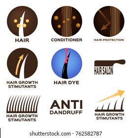 hair logo set vector , 9 icon