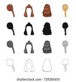 Hair, long,chignon, and other web icon in cartoon style. Barbershop, coiffure, locks, icons in set collection.