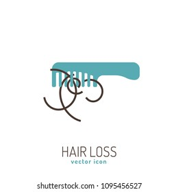 Hair loss icon. Vector illustration in flat style isolated on a white background. Beauty, dermatology and health care concept in blue and brown colors.