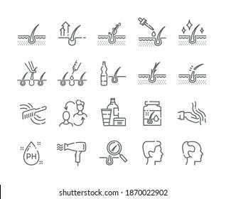 Hair loss treatment black and white flat line icons set. Shampoo ph, dandruff, hair growth, keratin, hair transplantation vector illustrations. Set of vector outline signs, icons, symbols