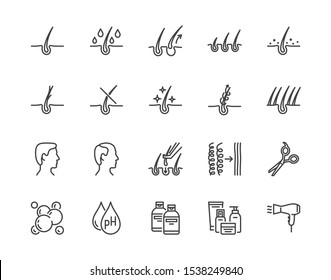 Hair loss treatment flat line icons set. Shampoo ph, dandruff, hair growth, keratin, conditioner bottle vector illustrations. Outline signs for beauty store. Pixel perfect. Editable Strokes.