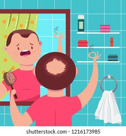 Hair loss vector concept illustration. Bald man with a comb in the bathroom looks in the mirror. Cartoon funny character.
