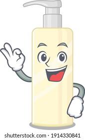 Hair mask cartoon mascot design with Okay finger poses. Vector illustration