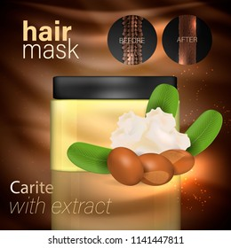 hair mask with karite extract. Vector