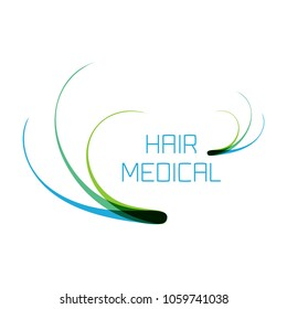 Hair medical logo with follicle icons for diagnostic centers and clinics. Alopecia and baldness treatment concept. Vector illustration.