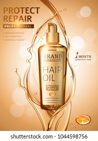 Hair oil ads, splashing liquid and pump bottle in 3d illustration, golden glitter bokeh background