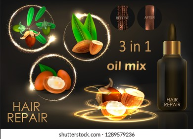 Hair oil mix with jojoba, almond, argan.  Hair before and after using oil.