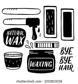 Hair removal hand drawn illustration. Waxing vector color illustration with handlettering isolated on white.