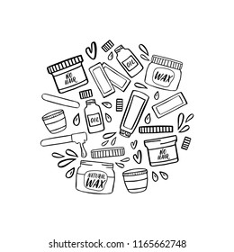 Hair removal hand drawn illustration. Waxing doodles isolated on white.