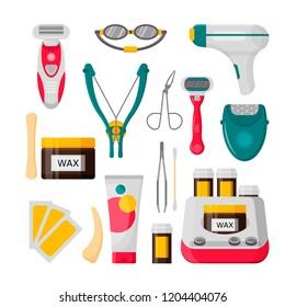 Hair removal icon set. Vector illustration of laser, epilator, depilatory cream, wax strips, bottle of wax, shaving razor, eyebrow tweezers, scissors etc. isolated on white background. Flat style.