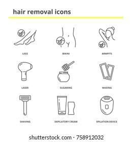 Hair removal icons: Legs, bikini, armpits, laser, sugaring, waxing,shaving, depilatory cream, epilation device