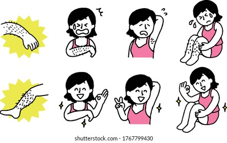 Hair removal woman illustration set