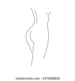 Hair Removal Zones. Area hair removal illustration. Nude attractive woman silhouette lineart isolated on white background.