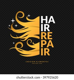 Hair repair. A bright poster for the Barber shop. Elements to cutting and styling hair. Vector illustration.