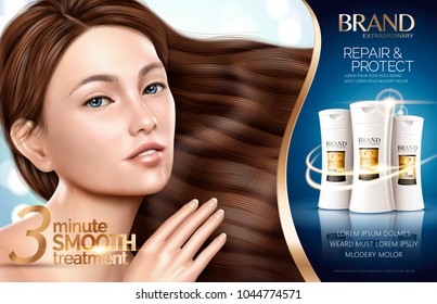 Hair repair shampoo products with charming model showing her glossy hair in 3d illustration