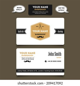 Hair cut business card images stock photos vectors shutterstock hair salon barber shop business card design vector template cheaphphosting Images