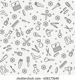 Hair salon and beauty seamless pattern with thin line icons. Vector illustration.