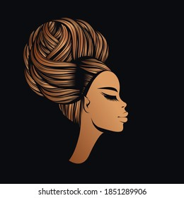 Hair salon and beauty studio illustration.Beautiful African woman with Afro hairstyle bun and elegant makeup.Stylish young lady.Hairdresser logo.Luxury,glamour,fashion model portrait.Female head.