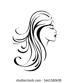 Hair salon and beauty studio illustration.Long,wavy hair woman with elegant makeup.Shampoo,cosmetics and spa icon.Young lady portrait logo isolated on white.Beautiful model face.Luxury,glamour style.