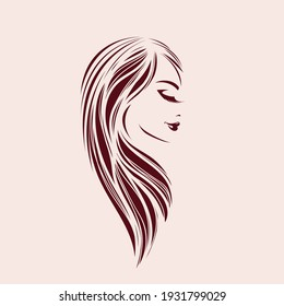 Hair salon, beauty studio logo.Long, wavy hairstyle woman.Elegant makeup.Profile view portrait.Hairdresser icon.Luxury, spa style.Young lady face isolated on light background.Eyelashes and lipstick.